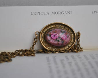 Antique Glass Cabochon Pendant - 1900s Victorian Brass Necklace