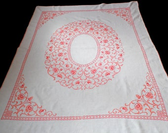 big Vintage white cotton tablecloth with floral cross stitch hand embroidery embroidered table cloth crochet edging juicy colors 50s