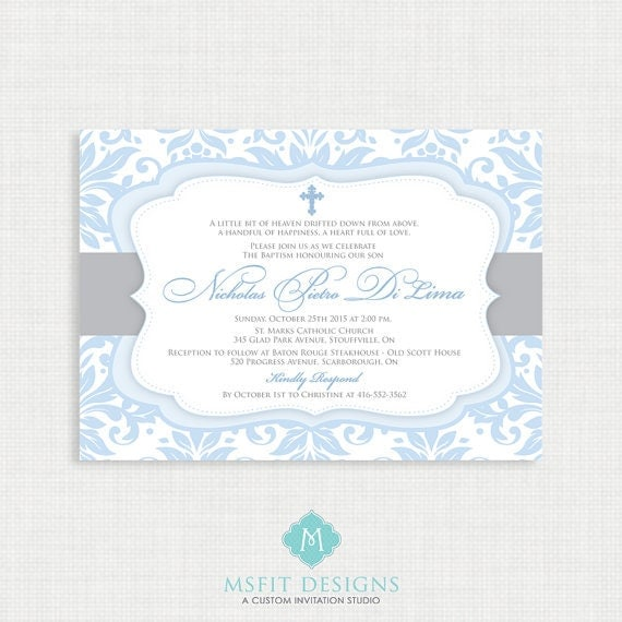 Printable Baptism Invitation- Boys Baptism Invitation - Baby Dedication, First Communion, Confirmation, Christening - Printable template