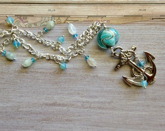 Silver Anchor Necklace, Aquamarine Gemstones, Big Anchor Pendant, Lampwork Bead, Silver Chain. Blue & Yellow, Nautical Jewelry