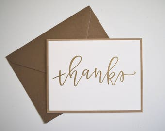 "Gold Embossed ""Thanks"" Card w/ Envelope"