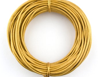 Gold Metallic Light Round Leather Cord 2mm 10 Feet