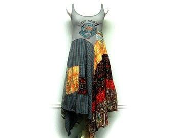 Small Hippie Boho Dress, Funky Artsy Festival Dress, Free Spirit Long Spring Summer Bohemian Dress, Upcycled Clothing by Primitive Fringe
