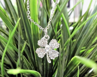 4 LEAF CLOVER NECKLACE - crystal lucky shamrock necklace - choice of chains