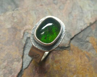 Green Tourmaline Ring, Green Gemstone Ring, Solitaire Ring, Size 6, Bird Ring, Flying Birds Ring, Rustic Ring, Nature Ring, Sterling Silver