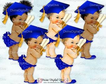 Royal Blue Gold Graduate | Graduation Cap Tassel Diploma | Vintage Baby Girl | Clipart Instant Download
