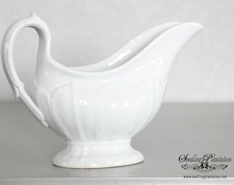 Vintage Ironstone Gravy Boat-White, French, Country