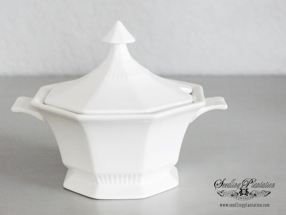 Vintage White Sugar Bowl-Federal Style, Ironstone, Porcelain, French, Shabby Chic, Farmhouse