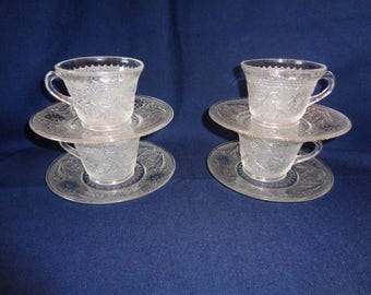 Indiana Glass Clear Sandwich Depression Glass Footed Cups & Saucers 4) Sets