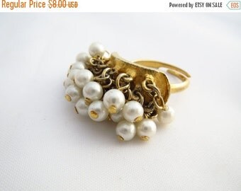 SALE Vintage Pearl ChaCha Ring Adjustable Costume