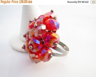 SALE Vintage Red ChaCha Ring Aurora Borealis Beaded Adjustable Costume