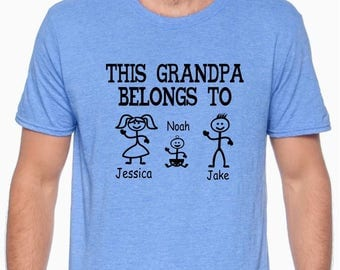 This Grandpa Belongs To Shirt; This Dad Belongs To Shirt; Father's Day Gift; Personalized Shirt;Grandpa Shirt; stick person; Papa; Daddy
