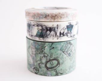 Alice in Wonderland Washi Tape Set - Shinzi Katoh Zakka Masking Tape - 3 rolls