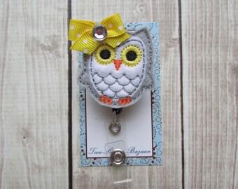 Owl Badge Reel, Retractable Badge Reel, Teacher Gift, School Badge Reel, Nurse Badge Reel, ID Badge, ID Holder, Felt Badge Reel