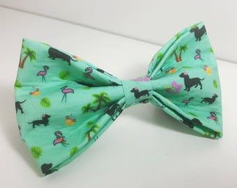 Dachshund summer luau pet bow tie, large