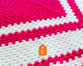 Crochet Baby Blanket, Traditional Hand-Crochet Blanket, Pink and White Cot Blanket, New Baby, Cot Blanket, Pram Topper, Reborn Doll, Newborn