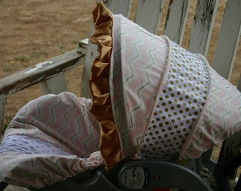 light pink with gold chevron with gold polka dots infant car seat cover and hood cover with gold satin ruffle
