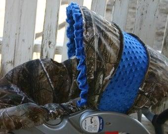 Realtree or mossy oak Camo with royal blue minky Car seat cover and hood cover with royal blue minky ruffle