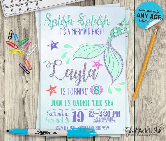 Resource image in mermaid birthday invitations free printable