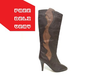 80s TALL leather boots ART DECO boots slouchy boots boho boots gogo boots disco boots coachella outfit / Size 6.5 us /  4 uk / 37 eu