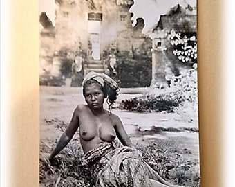 Antique, Nude Postcard, Vintage Postcard, 1900's, African Woman, War Post Card, French Postcard, Young Woman, Real Picture Post Card, RPPC