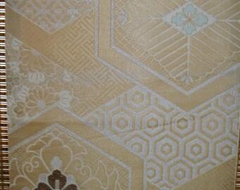 "FABRIC OBI Silk Vintage Japanese Obi Kimono Fabric from Vintage Japanese Silk Obi Fabric  Lined Tapestry-like Golden Flowers 14.5"" W X 36"" L"