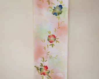 "ART Silk KIMONO FABRIC Vintage Japanese Silk Kimono Fabric from Unused Bolt Red Green Cream Handpainted Flowers Drapy Silk Fabric 14""W36""L"