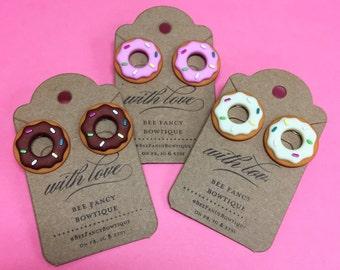 Donut Earrings - Chocolate - Strawberry - Maple/Vanilla