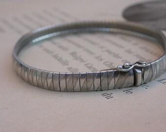 French vintage art deco style snake sterling silver  bracelet  stamped large solid silver bracelet