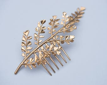 Maidenhair Fern Comb- Botanical Headpiece with in Brass, Bronze, or Sterling Silver