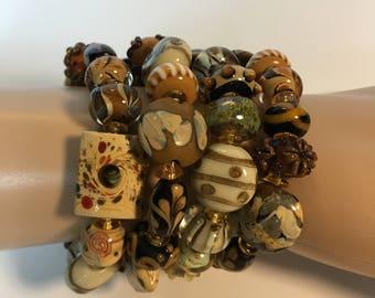 Woodland Wonder is multi-stranded Boho Bracelet made in Natural Wooden Hues on Memory Wire