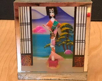 Vintage 1960's Japanese doll in glass box diorama.