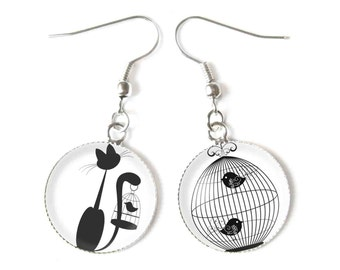Cat and Birds earrings