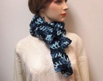 Shades of Blue Fall Scarf, Blue Crochet Scarves, Blue Fashion Scarf, Neckwarmer, Long Fall Scarf, Womans Crochet Scarf, Fall Knit Scarf