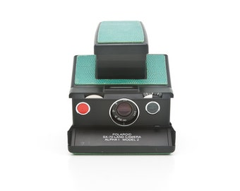 Polaroid SX70 Land Camera Alpha 1 Model 2 - Reconditioned with New Green Leather Covering - Film Tested - Guaranteed Working