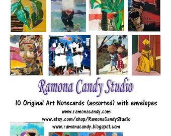 African American, African, Caribbean Art Notecards from original collages and paintings by Ramona Candy