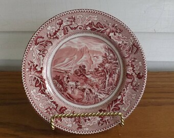 Johnson Bros Historical America Pink Fine China Bread and Butter Plate - Pattern: Covered Wagons and the Rocky Mountains (England 1930-1974)