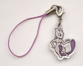 Pokemon - Mewtwo Acrylic Phone/3DS Charm with Strap