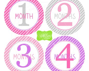Baby Girl Monthly Stickers - Striped Baby Month Stickers - Baby Girl Growth Stickers - Girl Milestone Stickers - Pink and Purple - 040
