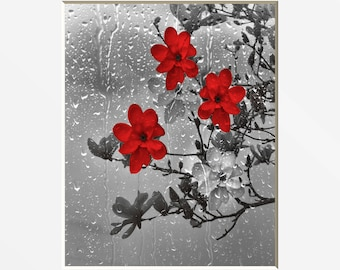 Red Gray Bathroom Powder Room Wall Pictures, Red Flowers, Raindrops, Red Pictures, Matted Wall Art