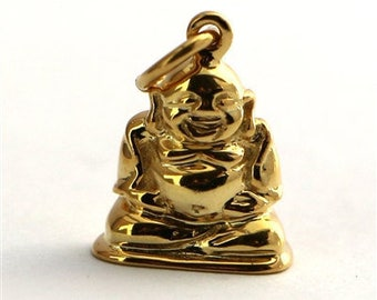 gold on sterling silver Buddha charm , golden buddha charm , spiritual charms , gold budda charm