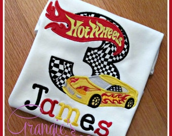 Personalized Race Car Hot Wheels Birthday T-Shirt