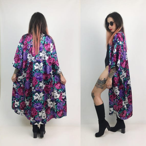 90's Vintage Rose Print Floral Robe/Open Duster - Romantic Pink & Purple Long Floral Printed Lingerie Robe- Rose Print Duster With Pocket