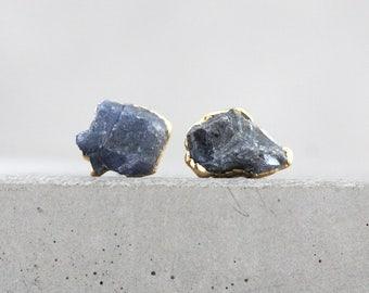 sapphire studs / sapphire earrings / blue sapphire / raw sapphire jewelry / blue stone studs / september birthstone / birthstone studs