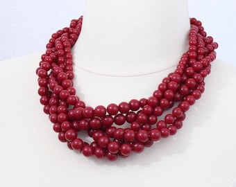 Dark Red Braided Beaded Necklace Twisted Beads Necklace Chunky Necklace Cluster Necklace Statement Necklace Multi Layered Necklace Dark Red