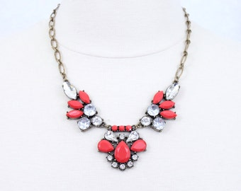 Red Cabochon Rhinestone Statement Necklace Floral Bib Necklace Floral Statement Necklace Holiday Jewelry Christmas Gift for Her