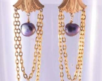 Egyptian black pearl earrings
