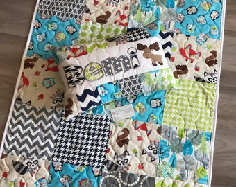 Woodland baby quilt and pillow set for Grey, Green and Blue nursery.
