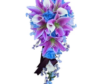 Cascade Wedding Bouquet - Baby Blue and Lilac Wedding Bouquet *Pick Ribbon Color*