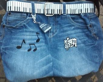 Jeans Purse - Jeans handbag - Denim handbag - jeans pocketbook - denim purses made from jeans - Music denim purse - Piano jeans purse